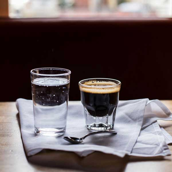 espresso with a sparkling water chaser